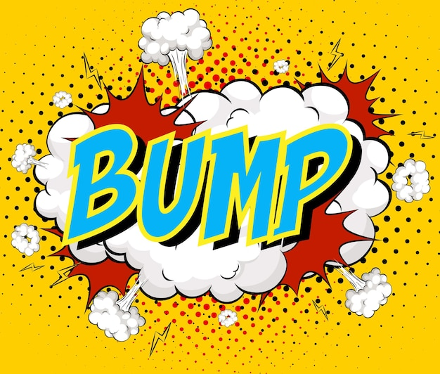 Word bump auf comic cloud explosion hintergrund