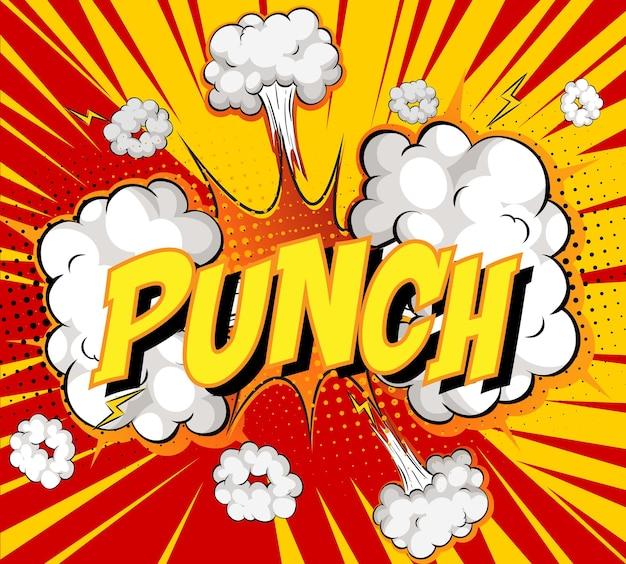 Word punch zur comic-wolkenexplosion