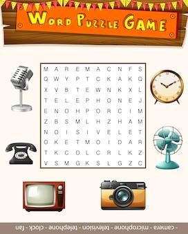 Word-puzzle-spiel-vorlage mit vielen objekten