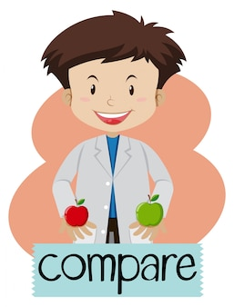 Wordcard für vergleich mit dem jungen, der äpfel hält