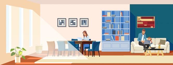 Work-at-home-konzept. freiberufliche weibliche mutter mit einem laptop, der auf einem stuhl sitzt. ein vater und ein kind schauen sich einen laptop in einem gemütlichen wohnraum an. nette illustration in einem karikaturflachstil.