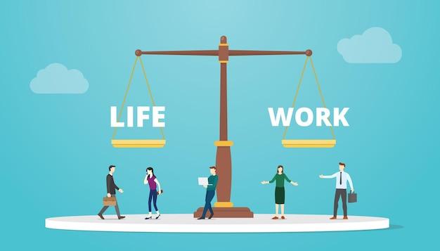 Work-life-balance auf maßstabskonzept mit moderner flacher vektorillustration