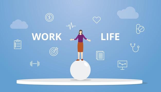 Work-life-balance-konzept frauenzirkus auf kugelbällen mit moderner flacher vektorgrafik