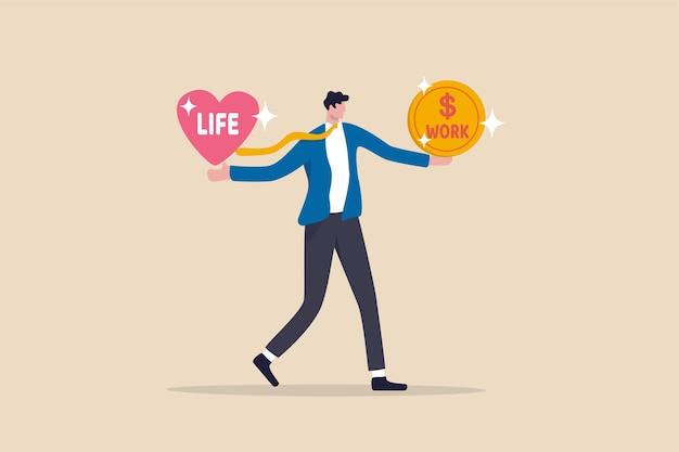 Work-life-balance, wählen sie zwischen zeit mit der familie und sich selbst oder harter arbeit
