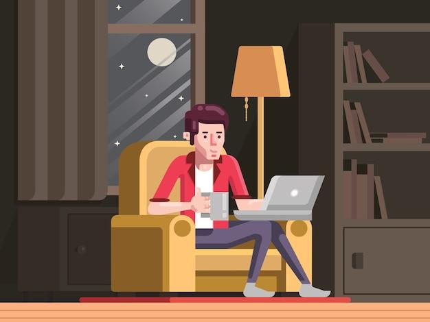 Workaholic-mann, der nachts von zu hause aus arbeitet, junger mann, der online studiert und nach der arbeit mit laptop-illustrationsvektor erfrischt