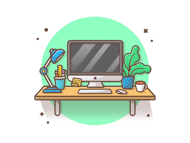 Workdesk-vektor-ikonen-illustration. desktop und lampe, kaffee, stationär, anlage, büro-ikonen-konzept-weiß lokalisiert