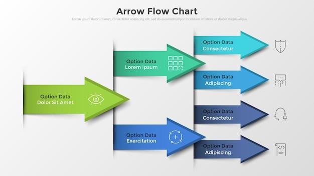 Workflow-diagramm oder flussdiagramm mit bunten pfeilen, dünnen liniensymbolen und platz für text. konzept der fortschreitenden entwicklung des unternehmens. ungewöhnliche infografik-design-vorlage. vektor-illustration.