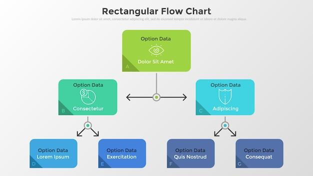 Workflow-diagramm oder flussdiagramm mit bunten rechteckigen elementen, die durch linien und pfeile verbunden sind, lineare symbole und platz für text. einfache infografik-design-vorlage. moderne vektorillustration.