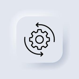 Workflow-gliederungssymbol. zahnrad-symbol. für mobile apps und webnutzung. neumorphic ui ux weiße benutzeroberfläche web-schaltfläche. neumorphismus. vektor-eps 10.