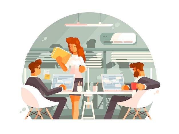 Workflow in der geschäftsstelle. teamarbeit am projekt. illustration