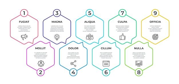 Workflow-infografik. 9-schritt-flussgrafik, minimalistisches sechskant-banner auf der zeitachse