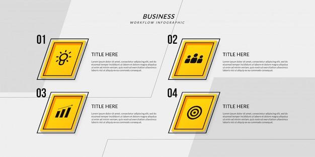 Workflow-infografik mit vier optionalen gliederungsdaten für geschäftsberichte