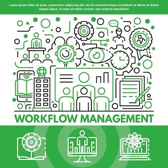 Workflow-management-konzept hintergrund, umriss-stil