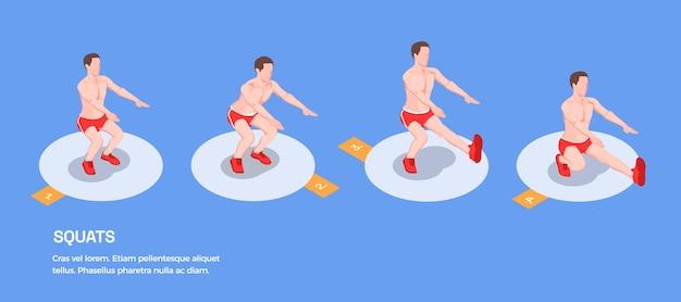 Workout isometrische personen mit isolierten figuren des männlichen athleten
