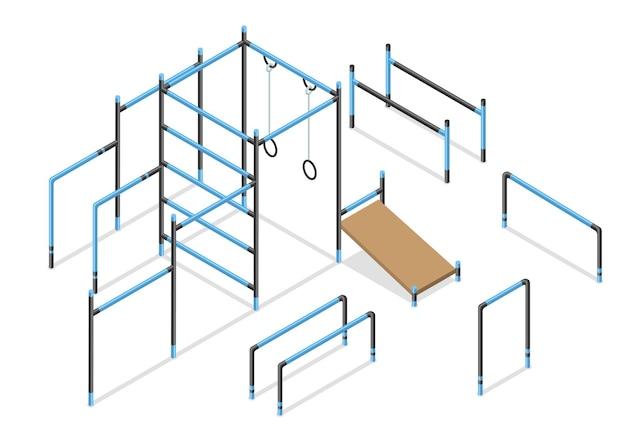 Workout isometrische straßenbereichselemente. gymnastik- oder sportgeräte im freien isoliert auf weiß.