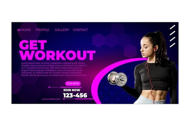 Workout landing page vorlage mit foto