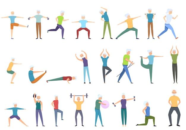Workout senioren ikonen gesetzt, cartoon-stil