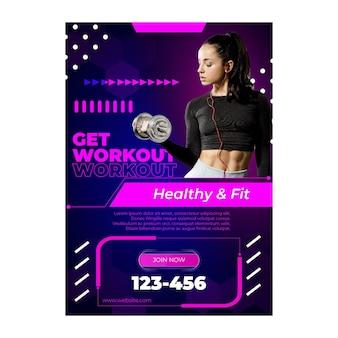 Workout vertikale plakatschablone mit foto