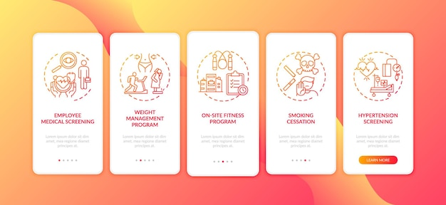 Workplace-wohlfühlprogramme auf dem bildschirm der mobilen app-seite mit konzepten. hypertonie-kontrolle, fitness-komplettlösung fünf schritte grafische anweisungen. ui-vorlage mit farbabbildungen
