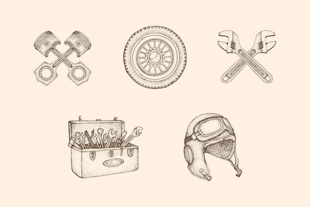 Workshop vintage illustration mit handgezeichnetem stil