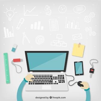 Workspace mit geschäfts kritzeleien Kostenlosen Vektoren