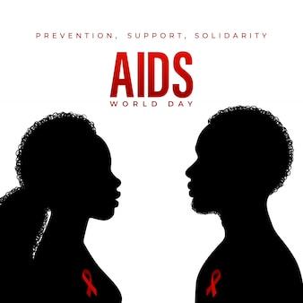 World aids day banner mit isolierten silhouetten von schwarzen männern und frauen
