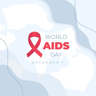 World aids day event mit karte und rotem band