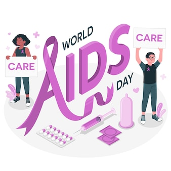 World aids day konzept illustration