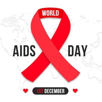 World aids day ribbon im papierstil