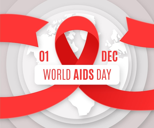World aids day wallpaper im papierstil