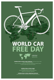 World car free day poster werbevorlage illustration