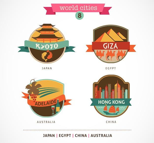 World cities labels - kyoto, gizeh, adelaide, hongkong,
