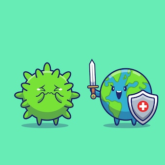 World fight corona virus icon illustration. corona maskottchen zeichentrickfigur. world icon concept isoliert