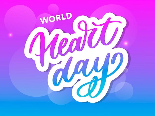 World heart day aufkleber schriftzug