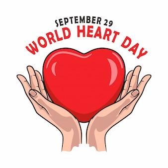World heart day banner für liebe und gesundheit