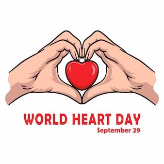 World heart day banner für liebe und gesundheitsunterstützung
