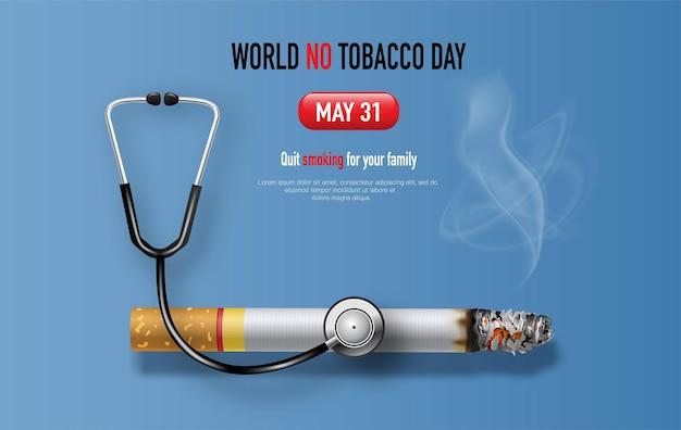 World no tobacco day zigarette mit stethoskop-banner-design