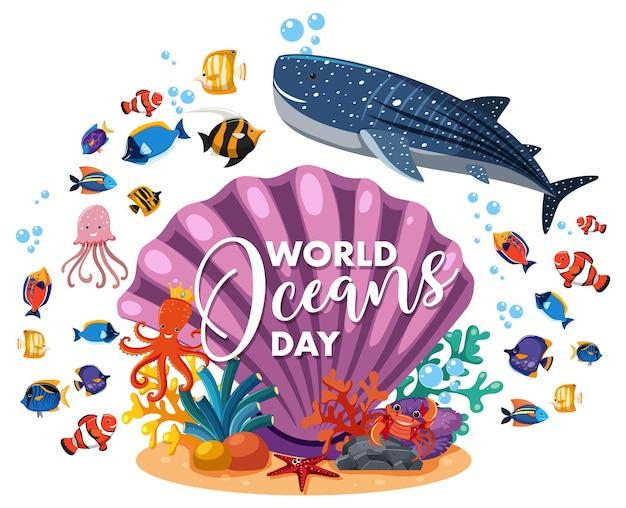 World ocean day banner mit vielen verschiedenen meerestieren auf weißem hintergrund