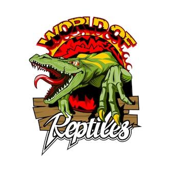 World of reptiles-logo mit einer gefährlichen eidechse in der mitte.