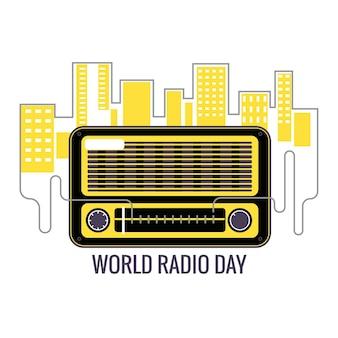 World radio day konzeptillustration. vintage radio mit allen arten von unterhaltungs- und nachrichtensendungen auf der ganzen welt