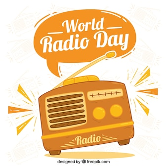 World radio tag hintergrund in den orange tönen