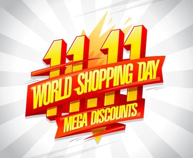 World shopping day sale, 11. november, rabatte vektor poster design