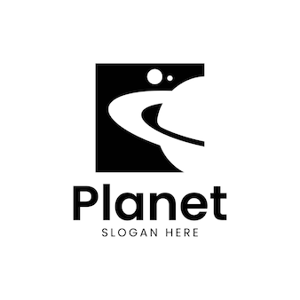 World travel planet logo design negativer raum Premium Vektoren