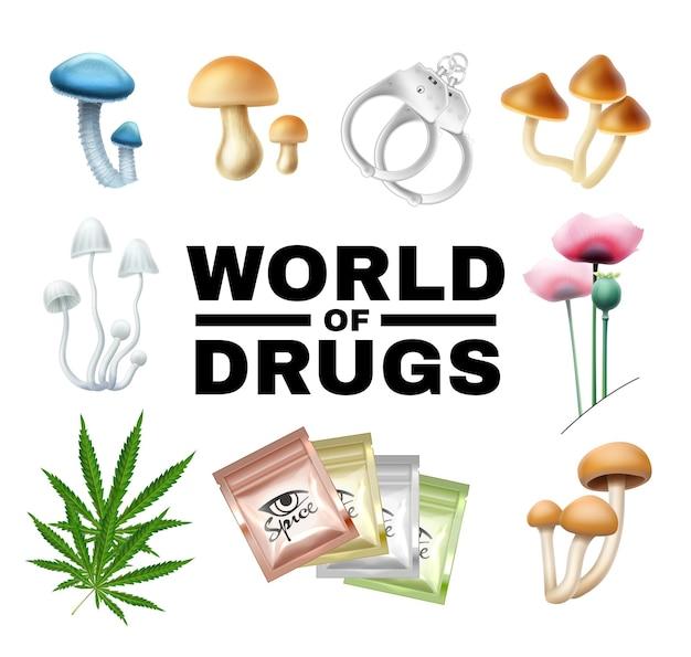 Wort der drogenillustration lokalisiert auf weiß. pilze, mohn, cannabis, gewürze, armbänder