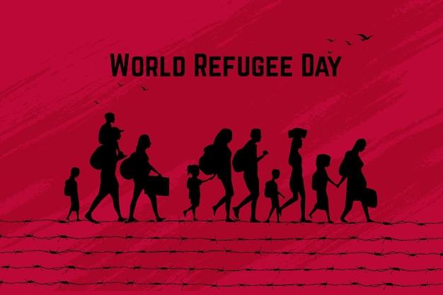Wort flüchtlingstag silhouetten konzept