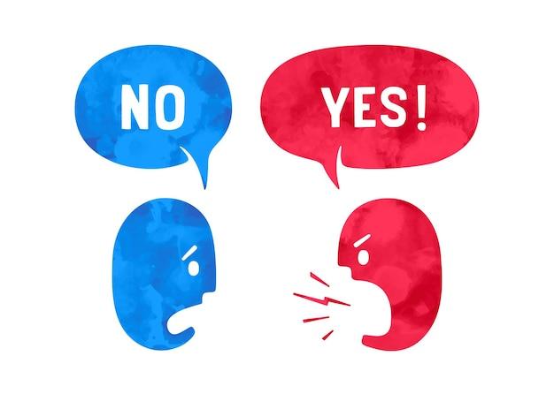 Wort ja und nein in blase. aquarell in handgezeichneten pfaden. zwei personen mit unterschiedlichen formen sprechen über rabattthemen