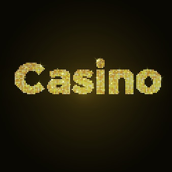 Wort-kasino des goldmosaiks. vektor-design goldglitter