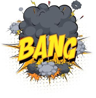 Wort knall auf komischem wolkenexplosionshintergrund