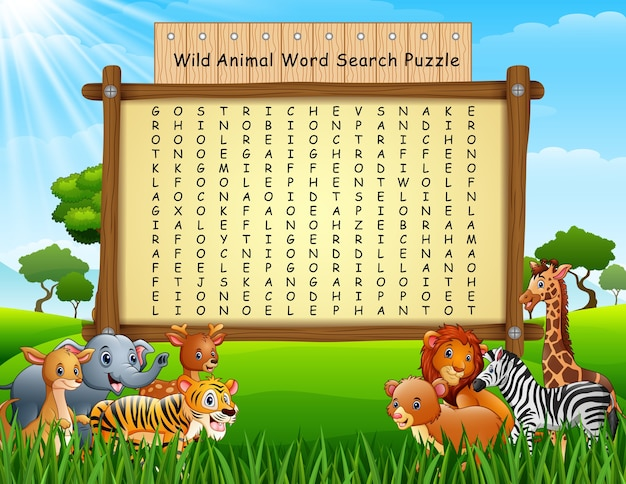Wort-suchpuzzlespiel der wilden tiere