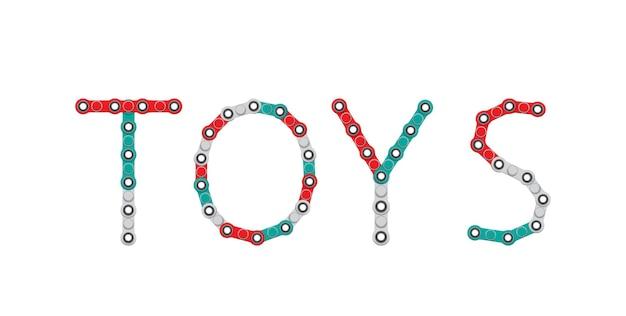Wort von spinnern. neues beliebtes anti-stress-spielzeug. vektor-illustration.